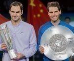 Federer y Nadal en la premiación del torneo de Shangai. Foto: ESPN