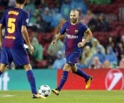 Iniesta fue el capitán del conjunto culé hoy. Foto: @FCBarcelona_es.