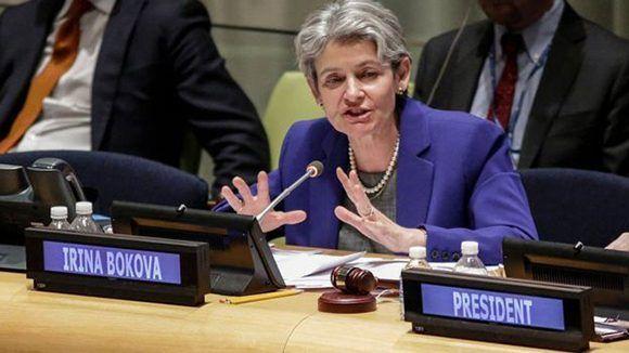 La directora general de Unesco, Irina Bukova, lamentó la decisión de EE.UU. Foto: AFP.