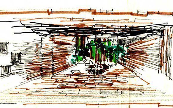 Líneas de dibujo en el techo del Memorial del Che y su Destacamento de Refuerzo. Foto: Vanguardia / Cortesía Jorge Cao Campo