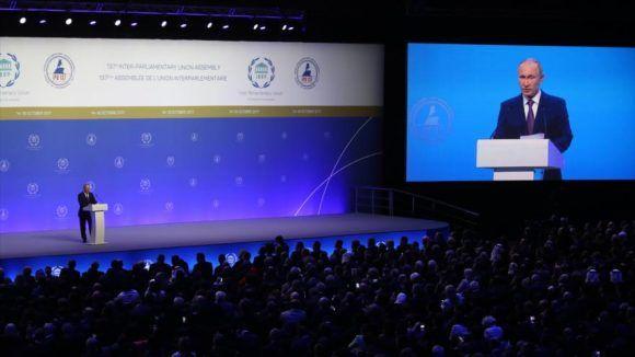 Putin inaugura la 137 Asamblea de la UIP. Foto: Delegación cubana