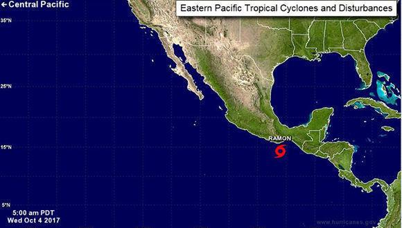 Tormenta tropical Ramón. Foto: NOAA.