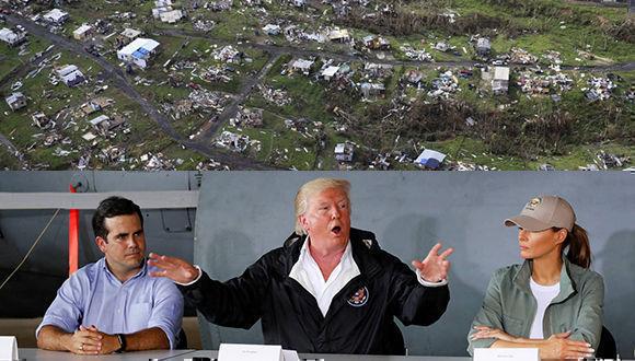 Trump resta importancia a los daños en Puerto Rico tras el huracán María. Foto: AP/ Reuters/ Cubadebate.