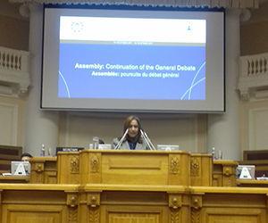 Ana María Mari Machado, vicepresidenta de la Asamblea Nacional del Poder Popular, durante los debates de la 137 Asamblea de la Unión Interparlamentaria que se desarrolla en San Petersburgo. Foto: Lázaro Barredo.