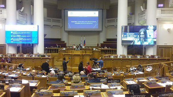 Debates de la 137 Asamblea de la Unión Interparlamentaria que se desarrolla en San Petersburgo. Foto: Lázaro Barredo.