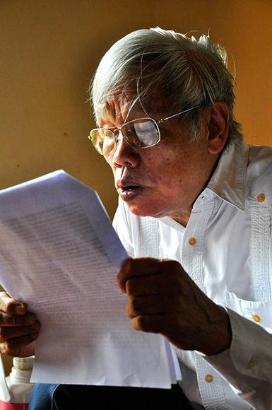 """Augusto cita al Che: """"Crear, dos, tres, muchos Vietnam es la consigna"""". Foto: Marta Llanes/ Prensa Latina."""