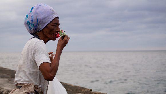 Cándida le lleva una flor a Camilo cada año. Foto: Leysi Rubio / Cubadebate