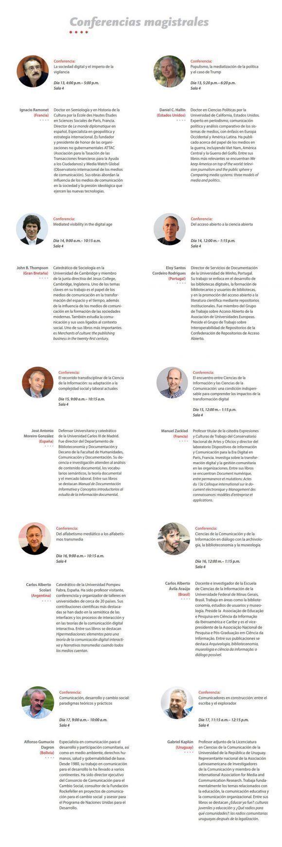 Autores de las conferencias magistrales en ICOM-2017. Imagen: FCOM.