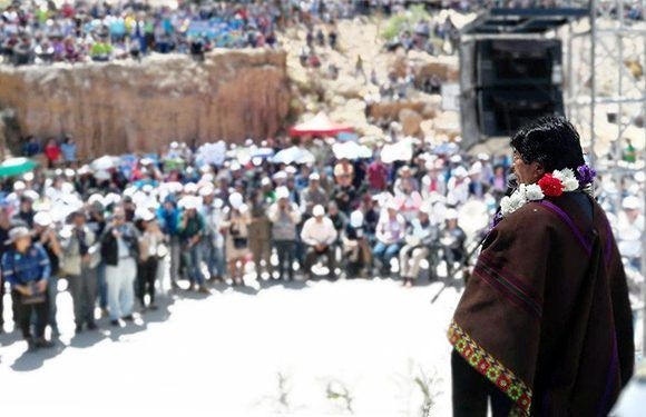 Evo Morales en la quebrada de Ancupiti de la ciudad de Sucre. Foto: @evoespueblo