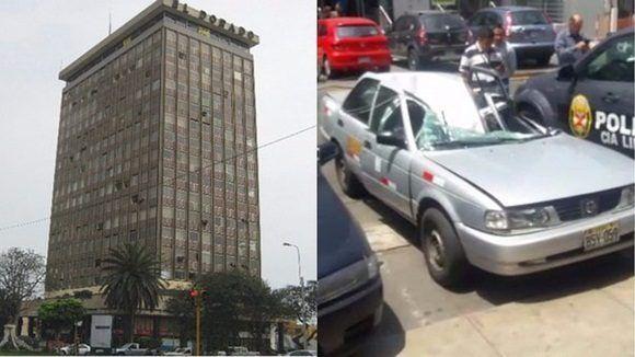 Hombre cae desde piso 18 de edificio en Lima, impacta en un taxi y sobrevive