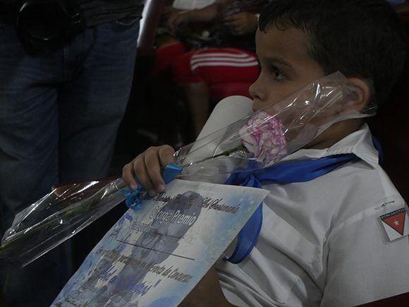 """Pionero ganador del concurso """"Abel entre nosotros"""". Foto: Javiel Fernández Pérez."""