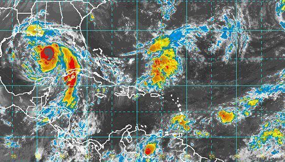 Nate ganará en intensidad a medida que se interna en el Golfo de México, para impactar tierras del centro sur de Estados Unidos esta noche. Imagen: NOAA/ INSMET.