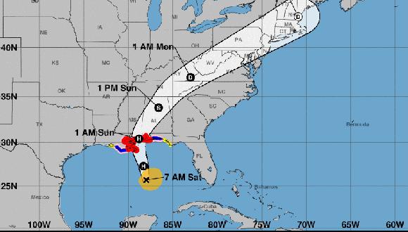 Durante la madrugada el huracán Nate ha mantenido el rumbo norte noroeste a razón de 35 kilómetros por hora, por aguas del Golfo de México. Imagen: NOAA.