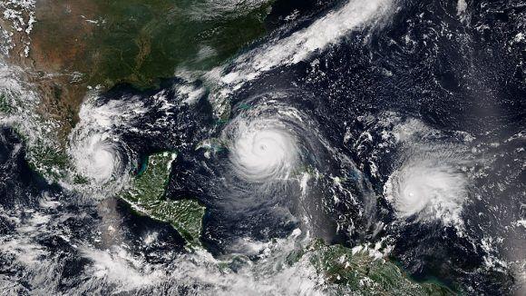 Los huracanes Irma, José y Katia en septiembre / Imagen de la NOAA.