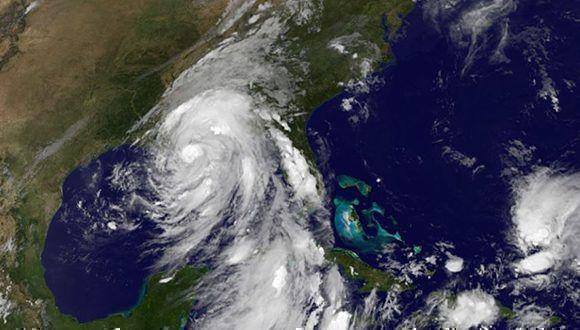 Nate toca tierra en Estados Unidos como huracán categoría uno y luegopierde fuerza. Imagen: GOES/ Vía INSMET Cuba.