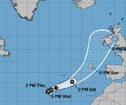 Posible trayectoria del huracán Ofelia según el NHC. Imagen: NOAA.