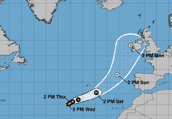 Ofelia se convierte en huracán categoría uno mientras se dirige a ¡Europa!