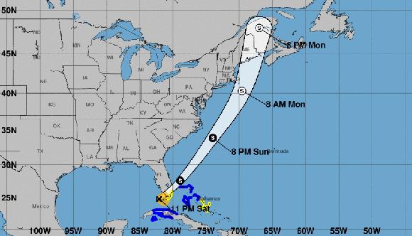 Philippe debe continuar su avance sobre el estado de la Florida y el Atlántico norte, cerca de la costa este de los Estados Unidos. Imagen: NHC.