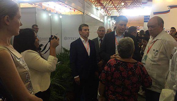 Rodrigo Malmierca, ministro de Comercio Exterior y la Inversión Extranjera en Cuba, visitó hoy el Día de Rusia en Fihav 2017. Foto: Cubadebate. Foto: Cubadebate.