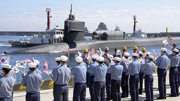 La llegada del submarino nuclear aumenta las tensiones en la península coreana. Foto: US Navy.