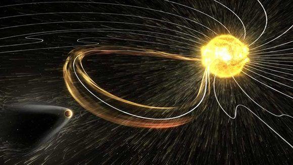 Imagen ilustrativa de la tormenta magnética de este viernes. Foto: NASA.