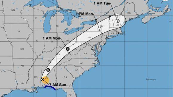 Posible trayectoria de Nate sobre el territorio norteamericano. Imagen: NOAA.