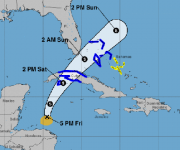 Posible trayectoria de la depresión tropical 18 de esta temporada ciclónica. Podría afectar el occidente y centro de Cuba como tormenta tropical. Imagen: NHC.