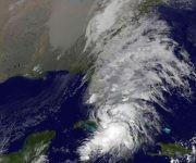 El difuso centro de hilippe se encuentra sobre el estrecho de La Florida, pero sus bandas de nublado se ubican hacia el este. Imagen: GOES/ Vía INSMET Cuba.