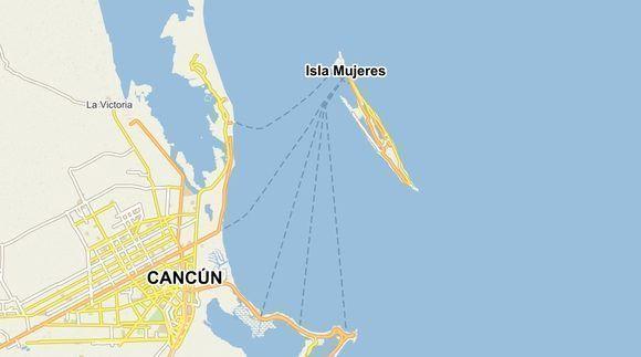 La pequeña Isla Mujeres queda muy cerca de Cancún, en la península de Yucatán, México. Mapa de Windy.