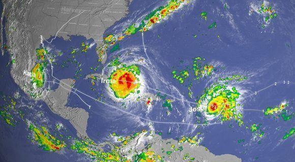 Irma, Jose y Katia coexistieron en el Atlántico tropical. Imagen de la NASA, 8 de septiembre.