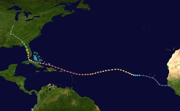 Largo recorrido de Irma, desde África (la onda tropical que le dio origen) hasta los Estados Unidos. Mapa de Wikipedia.