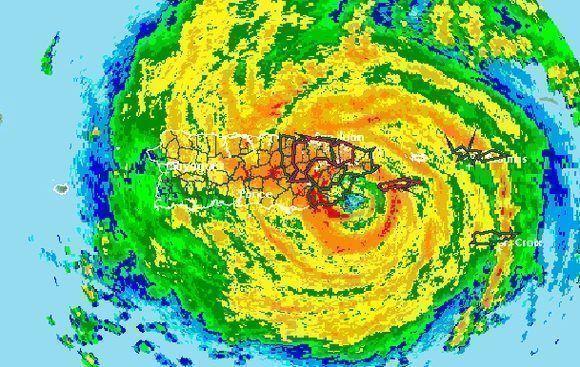 Imagen del radar de San Juan, Puerto Rico, poco antes de dejar de funcionar. Maria tocó tierra bien temprano el 20 de septiembre.
