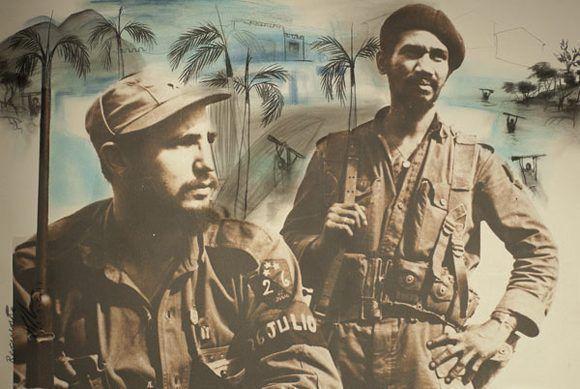 Pintura inspirada en la fotografía antológica de Fidel junto a Juan Almeida Bosque. Autor: Alexis Leiva Machado (Kcho) / Fecha: 13/08/2012