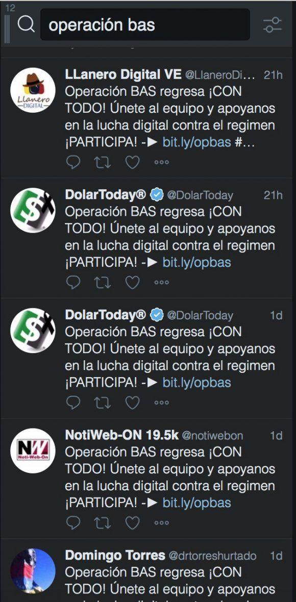 """Cadena de mensajes que promueven la aplicación """"Operación Bas""""."""