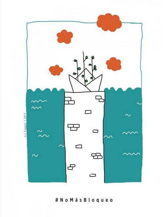 1er premio del concurso de carteles NoMásBloqueo: Liz Capote Alonso (Cuba). Foto: Cubaminrex