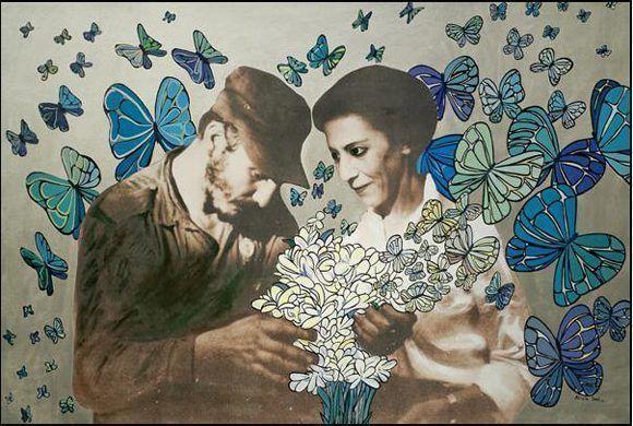 Pintura inspirada en la fotografía antológica de Fidel junto a Celia Sánchez Manduley. Autor: Alicia Leal. / Fecha: 13/08/2012