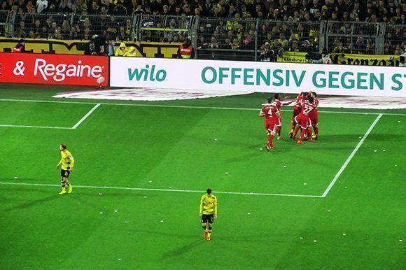 El Bayern celebra una de las anotaciones. Foto del autor.