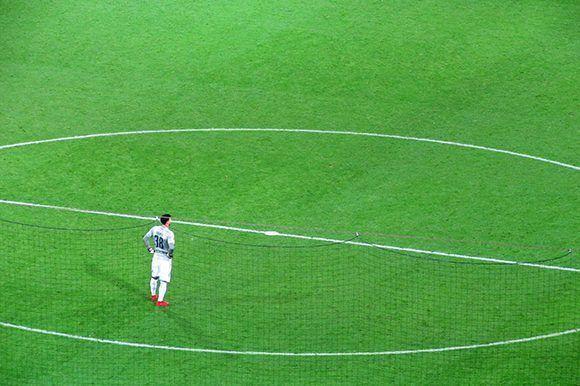 El arquero del Dortmund en el centro del campo. Foto del autor.