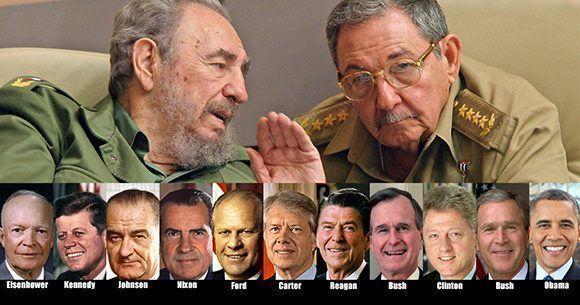 fidel-y-raul-frente-a-presidentes-eeuu
