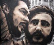 Pintura inspirada en la fotografía antológica de Fidel junto a Ernesto Che Guevara. Autor: Sandor González Vilar. Fecha: 13/08/2012