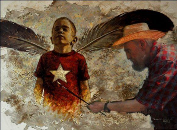 Pintura en acrílico, impresión digital y tela en homenaje al líder histórico de la Revolución, en su 87 cumpleaños. Autor: Maikel Herrera ; Alex Castro. / Fecha: 13/08/2013