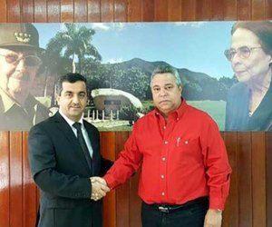El Secretario General de la CTC, Ulises Guilarte, junto al embajador de Siria en Cuba, Idris Mayya. Foto: Agencia.