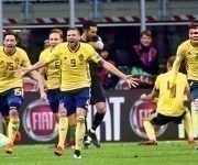 Suecia no estuvo en Sudáfrica-2010 ni en Brasil-2014, merecido festejo para los nórdicos. Foto: EFE.