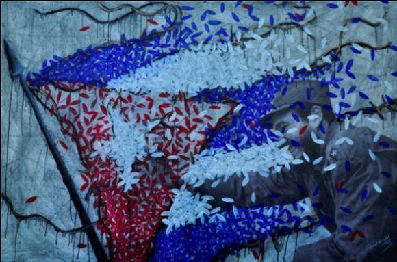 Pintura en acrílico, impresión digital y tela en homenaje al líder histórico de la Revolución, en su 87 cumpleaños. Autor: Michel Mirabal; Roberto Salas. / Fecha: 13/08/2013
