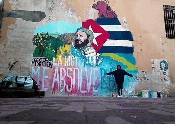 Mural dedicado a Fidel en Nápoles, Italia. Foto: @dianaespin/ Facebook.