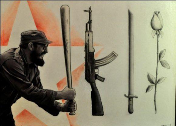 Pintura en impresión digital y tela en homenaje al líder histórico de la Revolución, en su 87 cumpleaños. Autor: Rafael Pérez Alonso; Roberto Salas. / Fecha: 13/08/2013