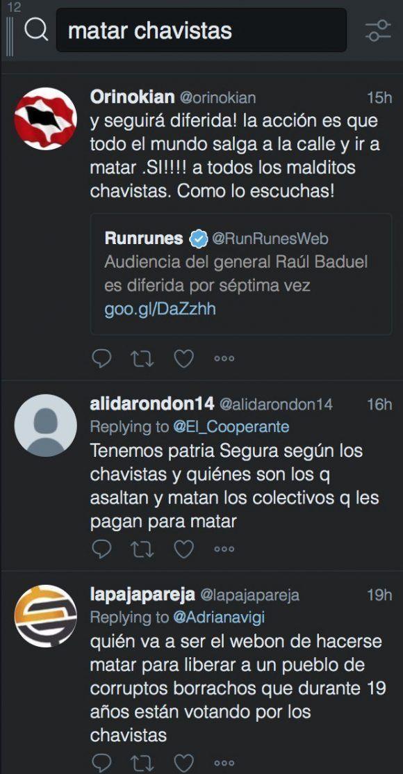 "Mensajes que aparecen en Twitter cuando se buscan dos palabras: ""matar chavistas""."