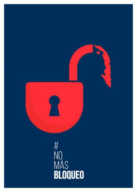 3er premio del concurso de carteles NoMásBloqueo: Ana Laura Peirone (Argentina) Foto: Cubaminrex