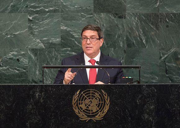 El canciller cubano durante su discurso en la ONU. Foto: @CubaMINREX/ Twiiter.