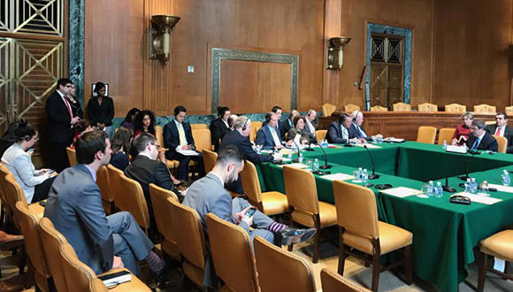 Bruno Rodríguez Parrilla sostuvo un encuentro con senadores y miembros de la Cámara de Representantes del Congreso de EEUU. Foto: CubaMinrex